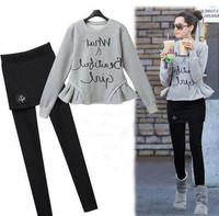 2014 New European Women Sweatshirt Fleece + Culottes Clothing Set Flounced Women Clothing Set