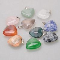 5PCS Rock Natural Gemstone Heart Necklace Pendant Focal Bead 25mm