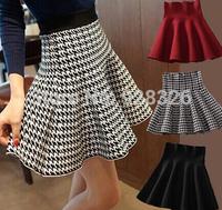 Free shipping ! 2015 Winter new Women Korean Fashion Houndstooth Slim thin waist big skirt knitted skirts