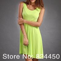 Women Summer Dress Knee-Length O-Neck Tank Fashion Vestidos Solid Plus Size Dresses
