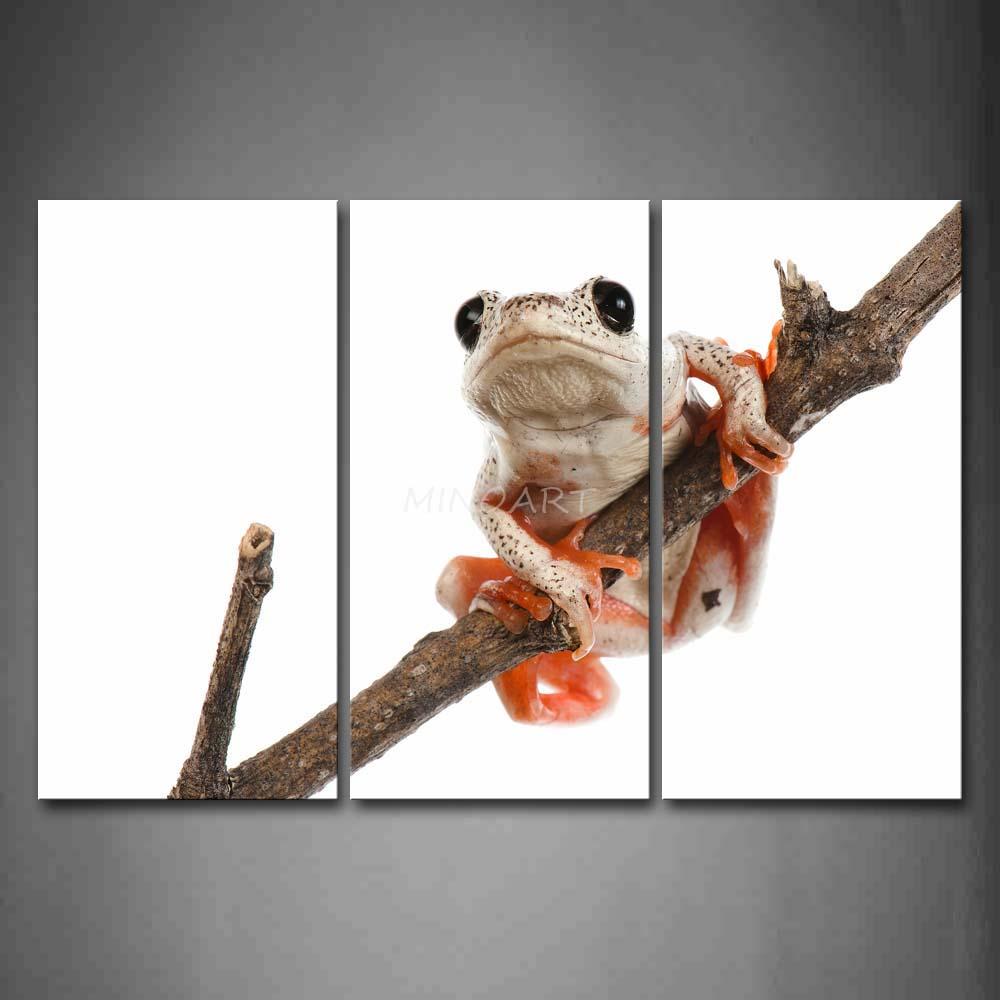 3 peça Wall Art pintura da árvore sapo subida na ramo seco impressão na lona o retrato Animal 4 fotos(China (Mainland))