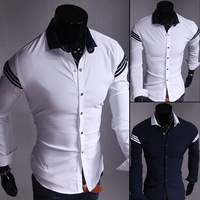 2015 free shipping new brand turn-down collar  solid long sleeve casual shirt   slim fit single breasted mens dress shirt UC804