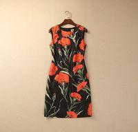 S-XXL 2015 new runway spring fashion Brand vintage Carnation flower print O neck sleeveless plus size one piece dress 303210