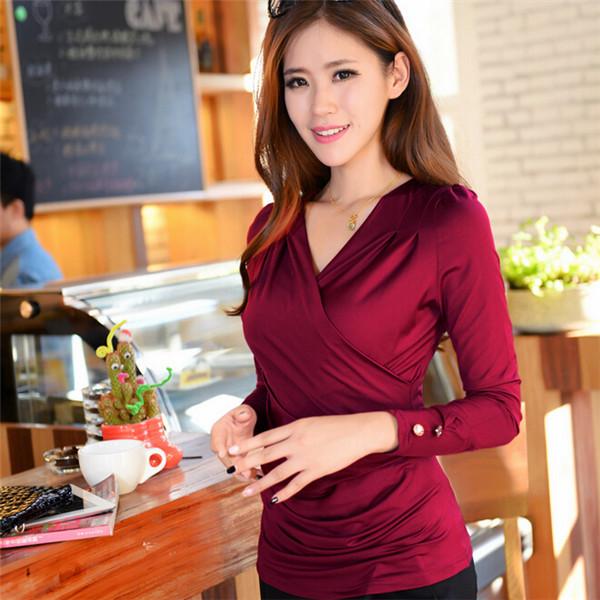 Plus Size mulheres T camisa com decote em v plissado de manga comprida fina camiseta mulher preto vermelho Ladies Tops menina roupas femininas 30424(China (Mainland))