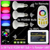 3x E27 Mi.Light 9W RGBW or RGBWW Mushroom Style Par30 LED Bulb AC85-265V+1x WiFi Hub+1x 2.4G Wireless RF 4-Zone Touch Remote