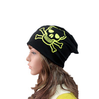 New Arrival Women Fashion Beanie Hat Winter Cotton Hats Casual Cap Hat Skull Print Headband Neckerchief Thick Regular