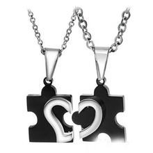1 Pair 2015 New Men's Women's Couple Lovers Stainless Steel Love Heart Puzzle Necklaces & Pendants 56jy