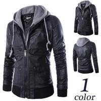 Spring / Autumn 2015  European sportsman  Slim Hooded jacket men false 2 pieces  leather jacket coat for tide men    H1741