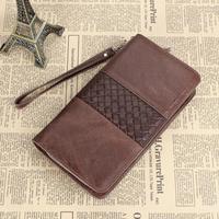 New men's leather hand woven wallet leather zip around wallet 2015 designer men wallets
