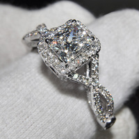 Diamonique Women's 925 Silver Filled  White Sapphire Crystal CZ Pave set Statement Ring