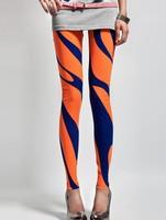 2014 new fashion Black white vertical stripe leggings printing pants slim leggings for women