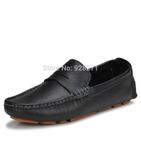 2014 New British Fashion First Layer Cowhide Men Genuine Leather Loafers Shoes Casual Simple Mocassin Men Driving Shoes
