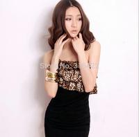 2015 New Plus Size Women Bodycon Dress 2015 Fashion Leopard Sexy Dress Sheath Roupas Femininas  Z 121