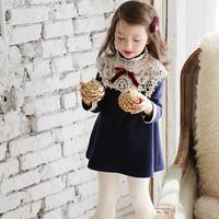 New 2015 spring  Korean girls dress long sleeved dress small girls princess  dresses children clothes Top quality