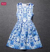 European brand 2015 new summer dress women sleeveless Slim Chiffon party dress