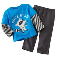 Retail 1set  New 2013 Baby kids suits Boy 2pcs set cartoon clothes blue Rock star 2352  Classic Fashion  Free shipping