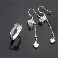 Free Shipping Silver Crystal Earrings/Rings,Fashion Silver Plated Rhinestone Set,Wholesale Fashion Jewelry,KNPCS670
