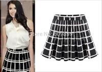 Spring Summer New 2015 Fashion High Waist Pleated Basic Skirts Female Womens Plaid Mini Skirt