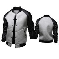 High quality! New hot Autumn fashion Large pockets decoration men jacket casual slim Baseball collar leather sleeve jacket men