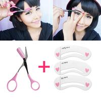 (Min. Order 10$) 3 Style Eyebrow Stencil Template Tool  eye brow tweezer eyebrow shaping knife Makeup Eyebrow Kit