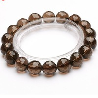 Free shipping Natural Genuine 5A-class section of pure crystal bracelet faceted smoky quartz men&women gem beads not dyed 2015