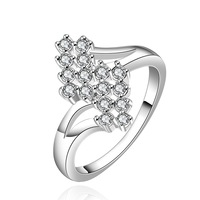 FREE SHIPPING!925 Sterling SILVER Valentine's day gifts with white Crystals  Rings size(7# 8#),925  silver  Rings,Drop shipping