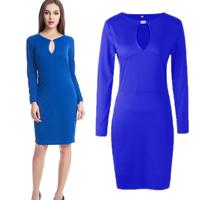 Newest Women Classic Blue Elegant O-Neck Button Bodycon Stretchy Cotton Blend Knee-Length Pencil Dresses S-XXL