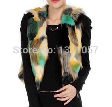 Women Faux Fur Vest Patchwork Gradual Color Lady Waistcoat Sleeveless Faux Fur Coat Slim Fur Outerwear SWQ0067(China (Mainland))