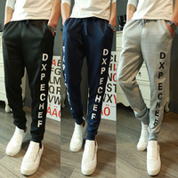 2015 Spring New Brand Men Casual Sports Pants Fashion Letter Print Men Running Jogger Pants Male Baggy Pants  Awy051