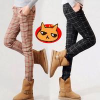 2015 M L XL XXL Pregnant Fashion Plaid Fleece Pencil Pants Women Scotland Plaid Pants 3103