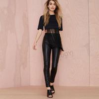 Back Zipper Short Crop Top O-Neck Short Sleeve Sexy Women Tops Tassel Patchwork T-Shirts Black 2015 New Fashion Free Shipping