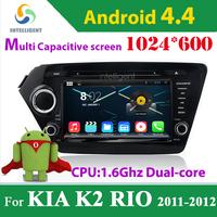 For KIA K2 RIO 2 Din Car DVD GPS android 4.4.4 1024*600 Capacitive screen with WIFI 3G GPS 1.6Ghz Bluetooth USB Car radio Stereo
