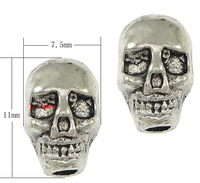 Free shipping!!!Zinc Alloy Jewelry Beads,Guaranteed 100%, Skull, antique silver color plated, nickel, lead & cadmium free