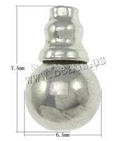 Free shipping!!!Zinc Alloy 3-Hole Guru Bead,New, Calabash, platinum color plated, nickel, lead & cadmium free, 6.5x7.5mm, 10mm