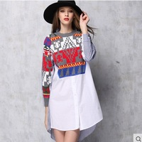 Casual long shirt dress 2015 spring women's Fashion geometry cross knitted floral patchwork stripe loose plus size shirt dresses
