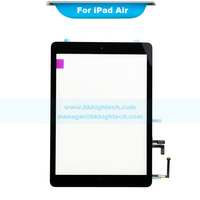 (20pcs/lot) digitizer touch screen glass with home button flex cable and 3m sticker assembly by dhl for ipad air