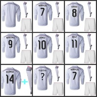 Top quality 2015 Real madrid Home Long sleeve soccer jersey shirt,short,sock, white James Cristiano Ronaldo Kroos Gareth Bale