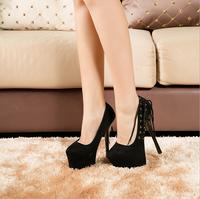 2015 women 16cm high heels Flock sexy black shoes female fashion platform pumps sy-1052