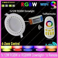 Mi.Light 12W RGBW / RGBWW Color/Brightness Adjustable LED WiFi Downlight w/ driver AC85-265V + 1x 2.4G RF Wireless 4-Zone Remote