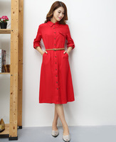 2015 New long dress for women mid-calf length cotton plus size woman casual dress lady workwear robe tunics vestido de festa red