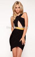 Free shipping 2015 Brand Bandage Dress For Fashion V-Neck Black Crossover Dress SB384