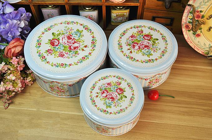Blue flower round storage tin box handmade biscuit cookie coffee candy tin box(China (Mainland))