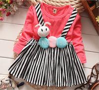 wholesale !4PCS/LOT 2015 New Arrive Girls Clothing For Kids Girl George Children Dress Vestidos Cute Stripe Princess Dress