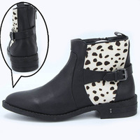 Exported to USA classic thick heel leopard print horsehair boots pedicure single boots buckle martin boots,free shipping