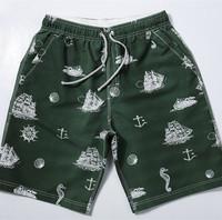 Men's Bermudas beach boardshorts green character print water proof 2015 new swimwear men hot pants bermudas de surf 2049