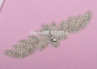 wholesales Rhinestones Beaded Applique 22.5*6.5cm for Wedding Dress Belt Sash Applique Crystal Stone Handmade