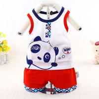2015 New design Vest stylish baby suit casual character panda children sleeveless clothing set 312