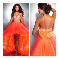 2015 Hot Selling Vestidos De Fiesta Sexy Sweetheart Crystal Beaded Maxi Graduation Dresses Short Front Long Back Prom Dress