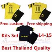 2015 kits kids Borussia Dortmund 14 15 soccer jersey+short set  BVB REUS GUNDOGAN SAHIN HUMMELS children shirt home yellow away