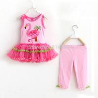 2015 Flamingos Dresses Baby Summer Clothing Sets Children Sleeveless Suspender Dress & Pants 2 Piece Suit For Kids Clothes